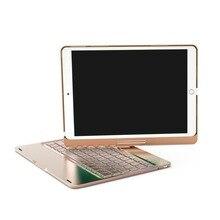 """אלחוטי Bluetooth אלומיניום מקלדת מקרה עבור IPAD פרו 9.7/10.5 """"אינץ 360 תואר מקלדת 7 צבע תאורה אחורית Folio כיסוי"""