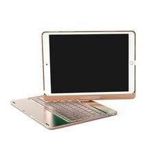 """Caso di Alluminio Della Tastiera senza fili di Bluetooth Per IPAD PRO 9.7/10.5 """"Pollici 360 Gradi Tastiera 7 COLORI Retroilluminato Foglio copertura"""