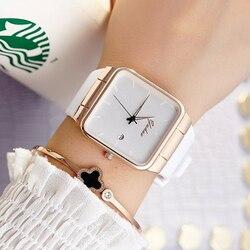 Casal coreano Relógios Das Mulheres Pulseira de Relógio Quadrado de Couro Contratada Cristal Relógios De Pulso Das Mulheres Das Senhoras Vestido de Relógio de Quartzo