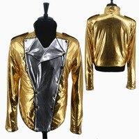 Nadir MJ Michael Jackson History KÖTÜ Altın Spandex Kruvaze Dokuma Ceket Pantolon Eldiven Kostüm Cadılar Bayramı Performans Hediye