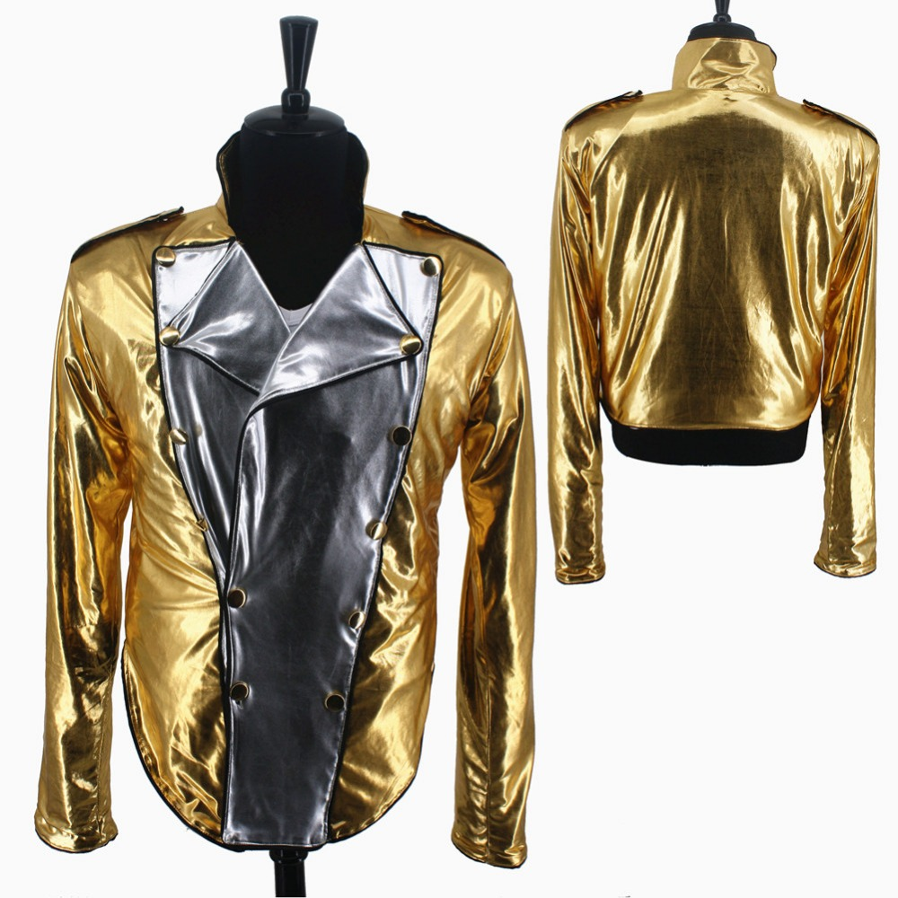Rare MJ Michael Jackson History BAD Golden Spandex Double Breasted Woven Jacket Pants Gloves Costume Halloween Performance Gift
