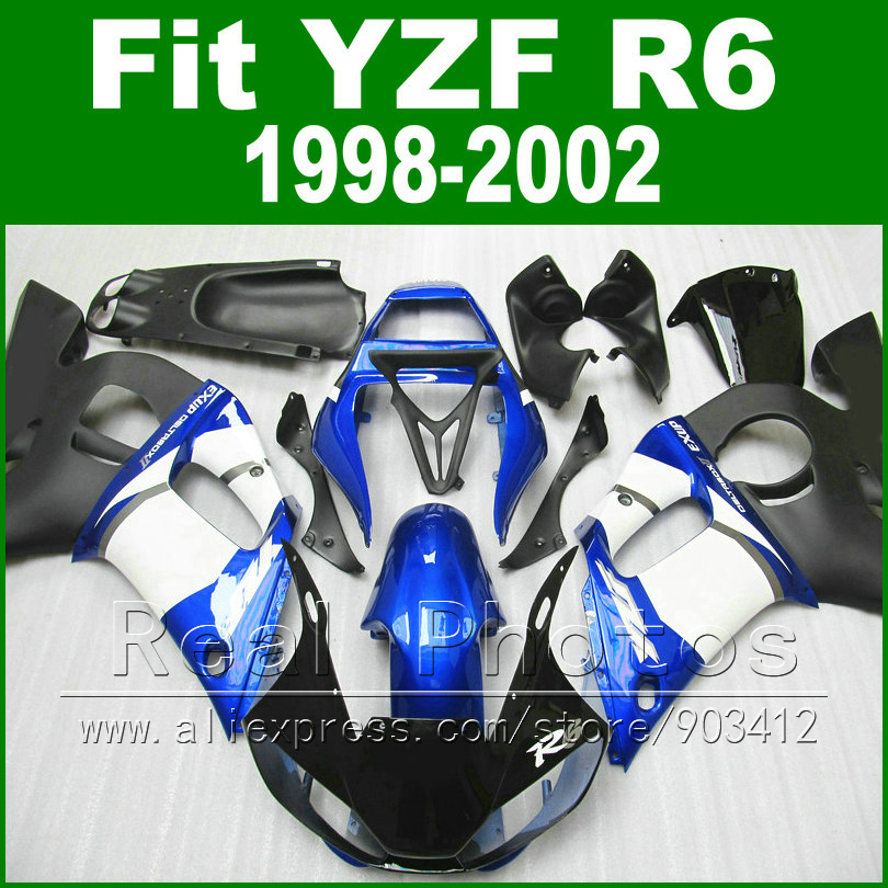 7 gifts motorcycle parts for YAMAHA R6 fairing 1998 1999 2000 2001 2002 blue and black  YZF R6 fairings 1998-2002  kits