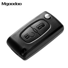 Mgoodoo 2 Buttons Flip Folding Car Remote Key Case Cover Fob Replacement Shell For PEUGEOT 207 307 308 407 Uncut Blade NEW