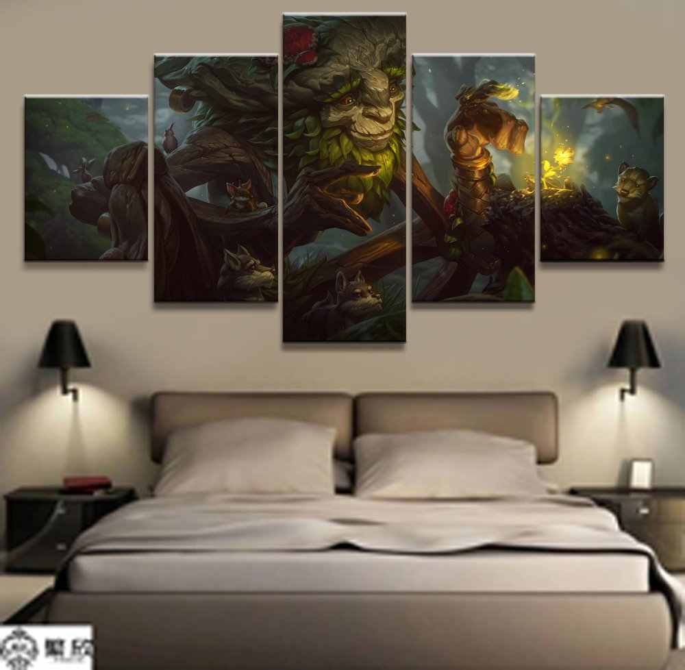 5 Panel LOL League of Legends Ivern Game Canvas Printed Painting For Living Room Wall Art Home Decor HD Picture Artworks Poster