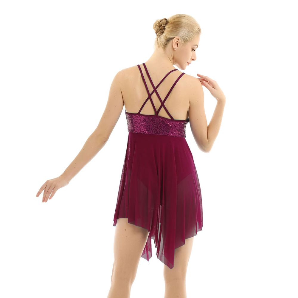 Women Ladies Lyrical Ballet Ballroom Gym Skate Dress Modern Dance Leotard Skirts