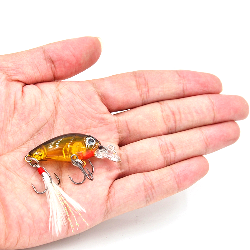 3.6cm 4g Fishing Wobblers with Feather Mini Crankbait Fishing Lure Crank Bait Hard Plastic Artificial Fishing Lures CB028 new hard plastic fishing lures crank
