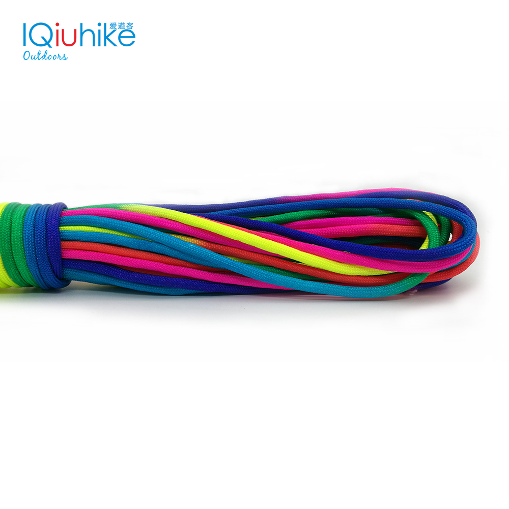IQiuhik 5Meters Colorful Paracord 550 Parachute Cord Lanyard Rope Mil Spec Type III 7 Strand Climbing Camping Survival Equipment