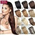 Clip En Extensiones Del Pelo Recto 22 Inch/56 CM 7 Unids 80g 120g 160g Real Brasileño 28 Colores mujeres Postizos de Cabello Natural humano