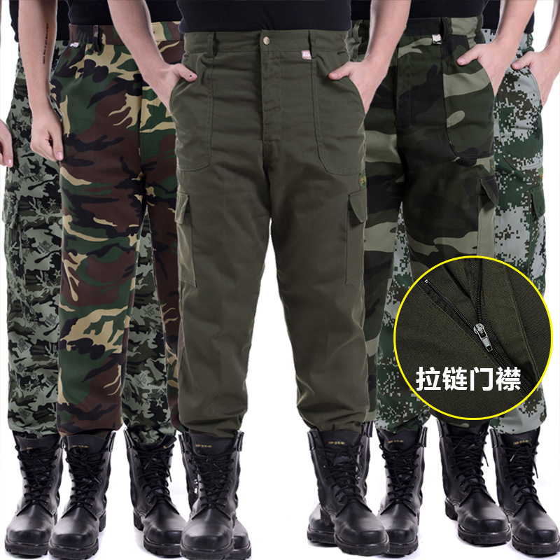 Paragraph 2019 Fall Thick Camouflage Pants Men Wear Overalls Site Work Loose Trousers