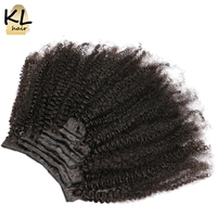 KL Hair Afro Kinky Curly Clip In Human Hair Extensions Natural Brazilian Remy Hair Clip In