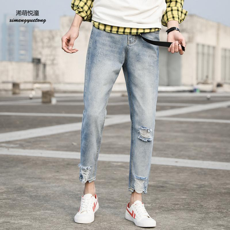 2018 summer new street hole Slim jeans men, young wild cotton fashion low-waisted feet n ...