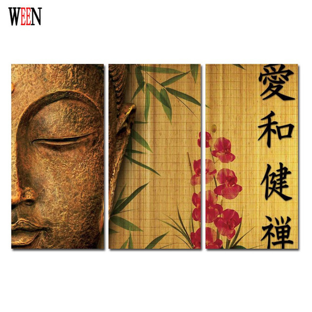 WEEN Buddha Canvas Pictures For Living Room Modern 3 Piece Wall Art  Buddhism Posters And Printed