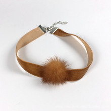 Velvet Choker with Fur Ball
