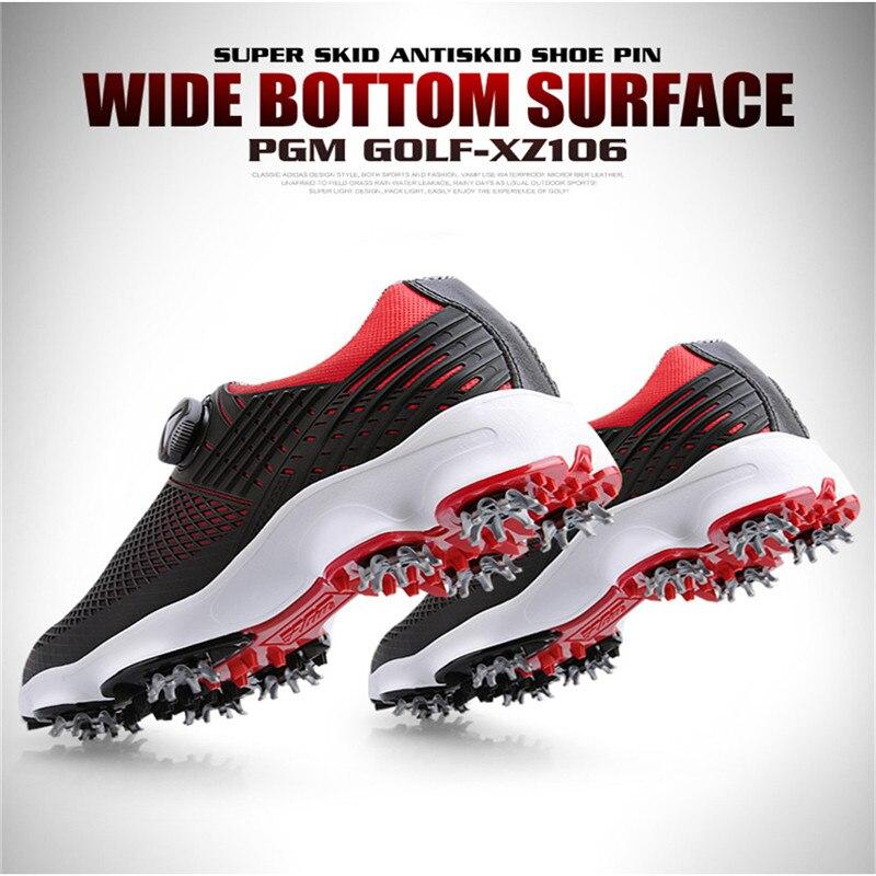 PGM nouvelles chaussures de Golf hommes imperméable respirant antidérapant baskets mâle rotatif lacets sport chaussures à crampons baskets XZ106 - 5