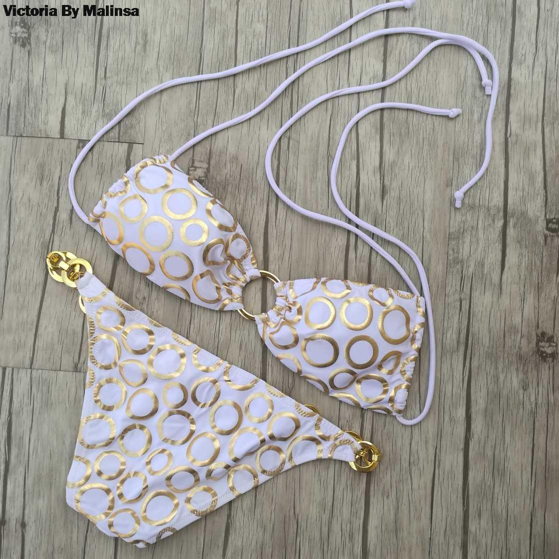 קיץ נשים לבן ביקיני חליפת נמוך מותניים Biquini נשים שחייה לובש סקסי סוד אבזם מתכת שרשרת תכשיטי וחוף