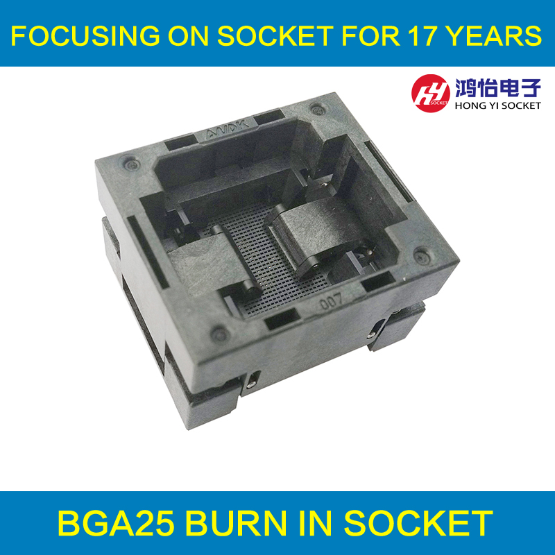 BGA25 OPEN TOP burn in socket pitch 0.8mm IC size 5*5mm BGA25(5*5)-0.8-TP01NT BGA25 VFBGA25 burn in programmer socket россия шк в ярославле 25 5