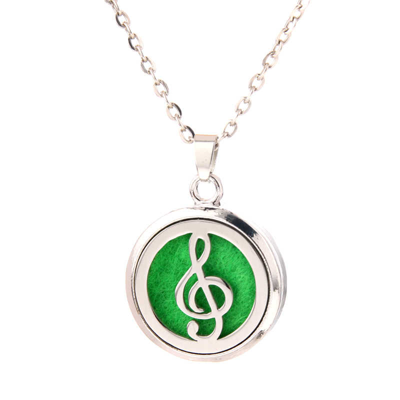 musical note Aroma Diffuser Necklace Stainless steel magnet Pendant Perfume Essential Oil Aromatherapy Locket Necklace With Pads