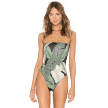 2019 Off Shoulder One Piece Swimwear Women Push Up Swimsuit Female Jumpsuit Strapless Bathing Suit Leaf Print Sexy Bikini Beach(China)