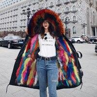 2018 новая парка натуральным лисьим мехом енота меховым капюшоном Толстая теплая зимняя куртка Для женщин пальто бренд класса люкс уличная П