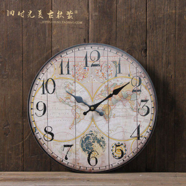 Vintage tuscan style paris wood wall clock world map bar pub home vintage tuscan style paris wood wall clock world map bar pub home cafe wallpaper gumiabroncs Gallery