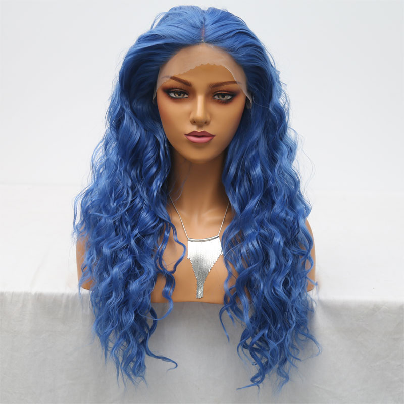 Bombshell Bouncy Curly Sky Blue Synthetic Hand Tied Lace Front Wig Glueless Heat Resistant Fiber Hair