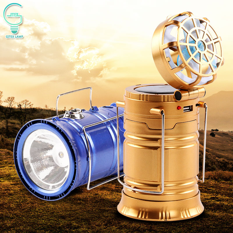 Portable Camping Lantern Light Solar Rechargeable Flashlight EU/US Plug Lantern with Fan Multi-function Solar Hiking Tent Lamp led solar flashlight with fan lantern camping camping light outdoor portable tent telescopic emergency light