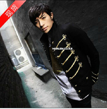 Hot sale Autumn authentic Korean brand military uniform jacket stand collar Slim Men Costumes Suit singer stage clothing /