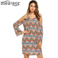 Meaneor Print Loose Ethnic Style Shift Dress Women Cold Shoulder Flare Sleeve Autumn Dresses Vestidos