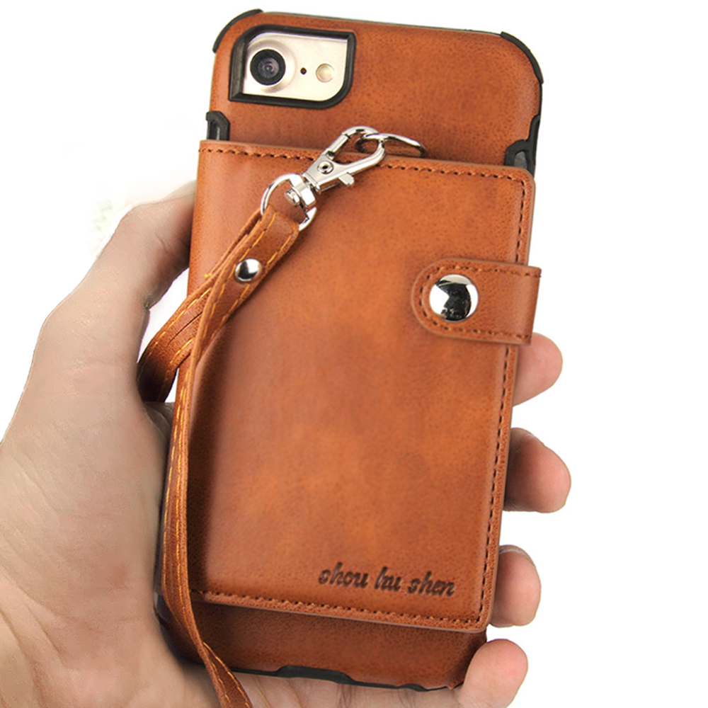 Wallet Leather Case For iPhone X 7 8 6S 6 Plus Luxury Business Case Card Holder With Lanyard Back Cover For iPhone X 8 Bag Purse