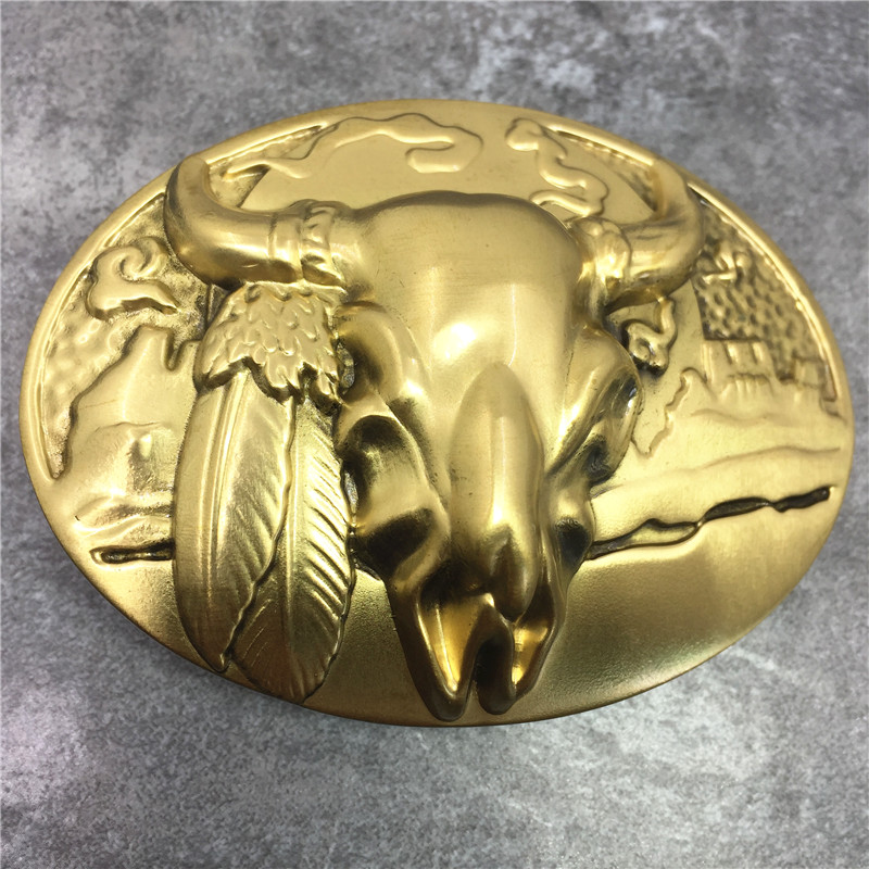 Luxury Brass Bull Head Buckle High Quality 3D Hot Sell Cowboy Fashion Belt Buckle For Man Belt Leather BK0113