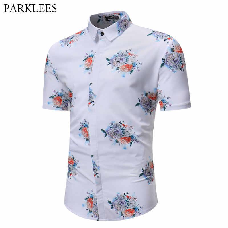 Мужская Летняя модная Цветочная гавайская рубашка, брендовая приталенная белая пляжная рубашка для мужчин, Camisa Hawaiana, повседневный вечерний праздничный наряд