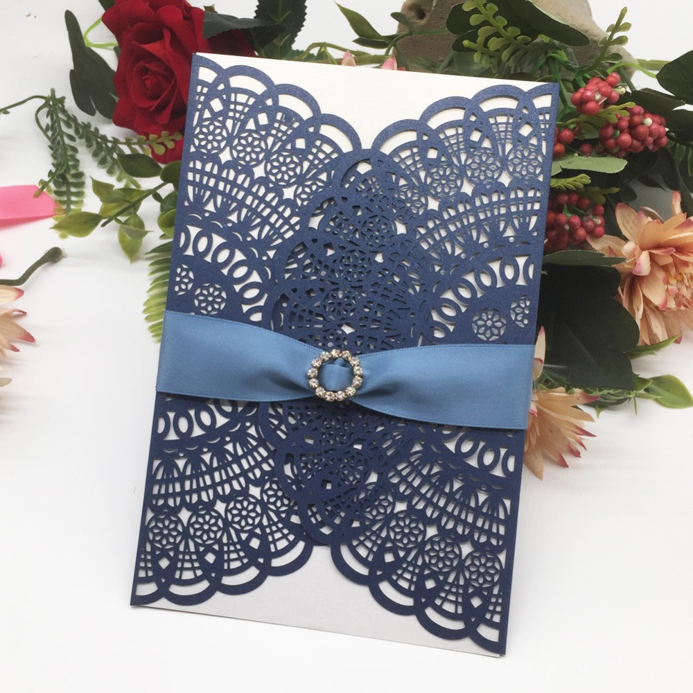 Us 54 0 46 Off 50pcs Free Ribbon Graceful Lace Design Wedding Invitation Laser Cut Wedding Card Birthday Party Invitations Card Party Supplies In