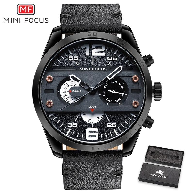 MINIFOCUS Sport Cool Watch Men Quartz Clock Genuine Chronograph 3 Dials Week Day Big Case Waterproof Chic Casual Wrist Watches