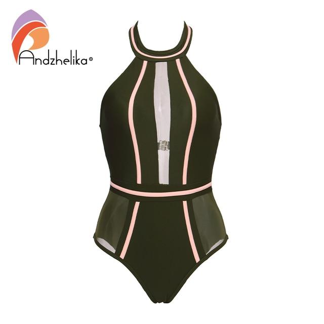 Andzhelika Sexy One-Piece Swimsuit Mesh Patchwork Swimwear Strapless Girl Backless Bodysuit Summer Bathing Suit Monokini AK75064 5