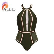 Andzhelika Sexy One-Piece Swimsuit Mesh Patchwork Swimwear Strapless Girl Backless Bodysuit Summer Bathing Suit Monokini AK75064