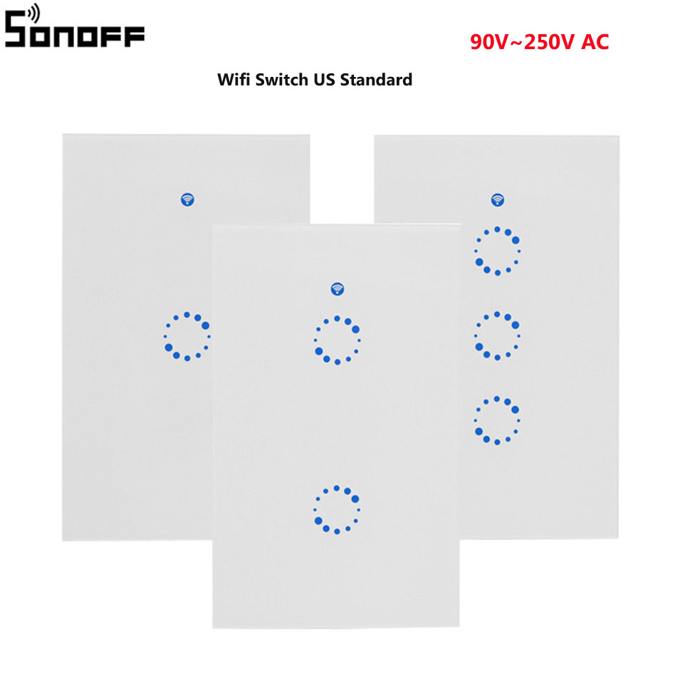 Sonoff T1 US/AU Wifi Smart Light Switch 1 2 3 Gang Wall Touch Screen Switch Wifi/315 RF/APP Remote Smart Home Work with Alexa sonoff t1 us au wifi smart light switch 1 2 3 gang wall touch screen switch wifi 315 rf app remote smart home work with alexa