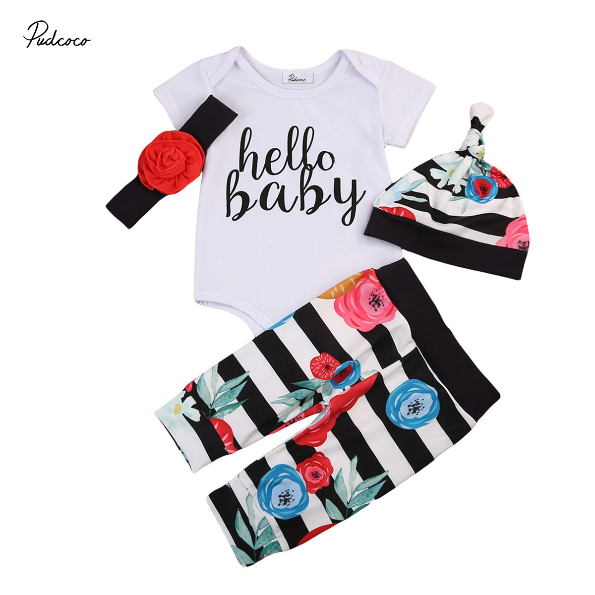 Cute Newborn Toddler Infant Baby Girs Romper Short Sleeve Tops Pants Leggings Hat Floral Headband 4PCS Outfits Clothes Set
