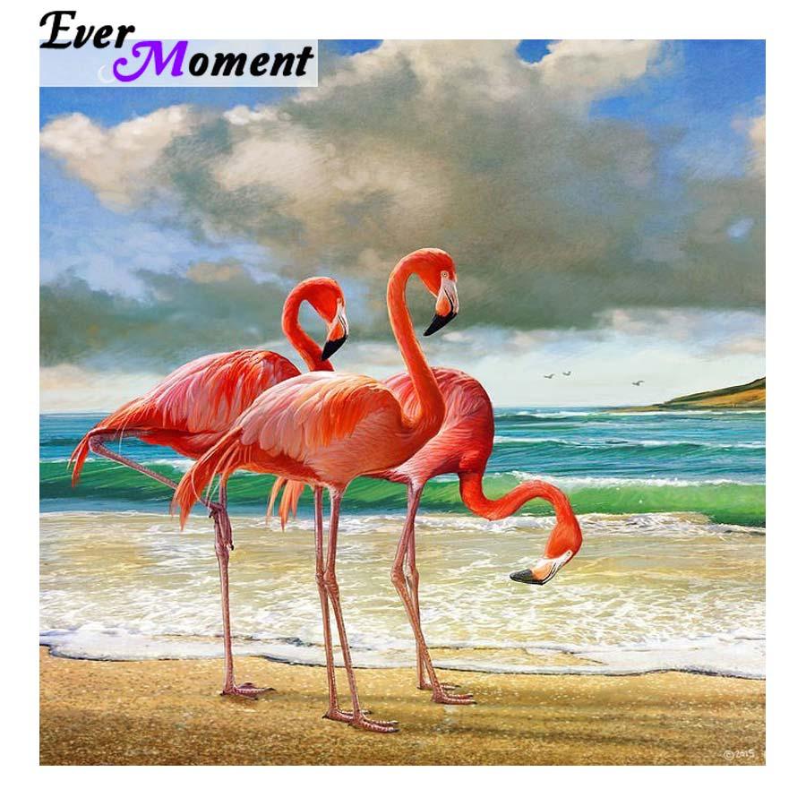 Ever Moment Flamingo Diamond Painting 5D DIY Paint Diamonds Red Bird On Beach Almaznaya Rhinestone Needlework Decorative ASF1023
