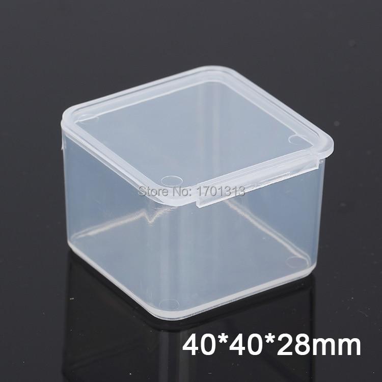 100pcs Small square transparent plastic box PP Storage Collections Container Box Case
