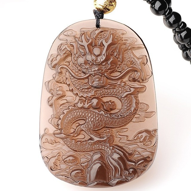 Azure Dragon Obsidian Pendant