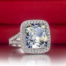 Большой камень 8 карат! Твердые 14 карат, Золотое кольцо с синтетическими Бриллиантами Кольцо на головщину для женщин чистое золото обещают Свадебные украшения