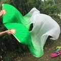 1 пара = 2 шт. 100% натуральный Шелк танцы Fan Вуали Сексуальная танец живота Чистого натурального Шелка Вентиляторы Реквизит Зеленый + белый, S/M/L размер