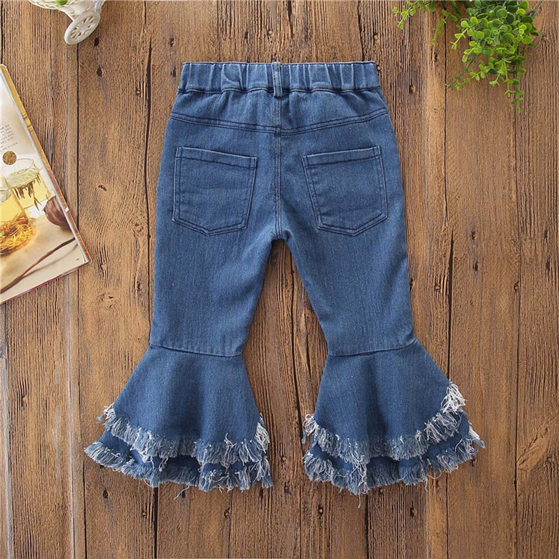 toddler kids baby girls flare pants denim tassel clothes jeans pants kawaii pants for kids girls conjunto infantil 40ja07 (12)