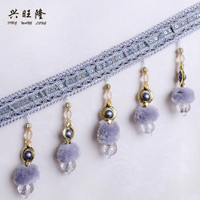 XWL 12M Lot Beaded Fringe Lace Trim For Curtains DIY Lamp Sofa Stage Decorative Pompon Beads
