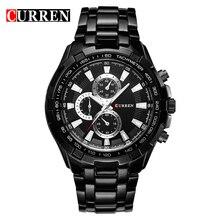 2016 nueva moda curren brand design sport calidad acero hombre militar reloj de acero masculino de regalo de lujo cuarto de muñeca del reloj del negocio