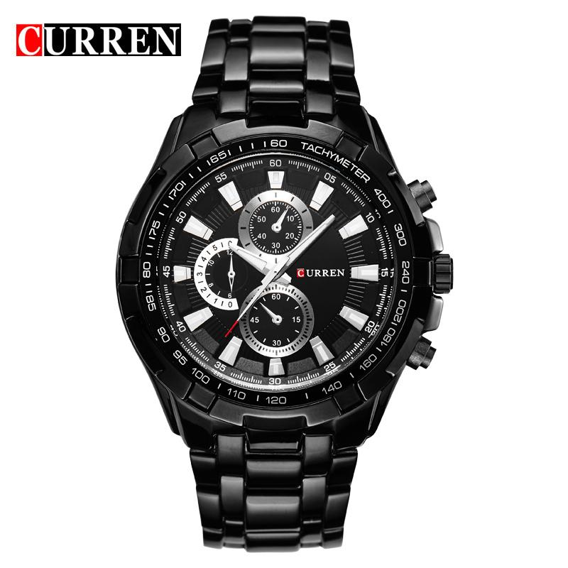 Prix pour Top nouvelle mode curren brand design sport en acier horloge qualité en acier militaire homme mâle de luxe cadeau poignet quart montre d'affaires