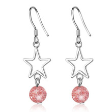 Cute 925 Sterling Silver Earrings Girl Jewelry Charm Crystal Pink Bead Hollow Star Women Valentines day Accessories