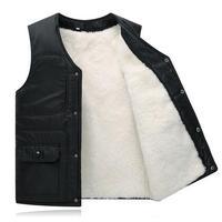 Real fur male vest waistcoat thermal vest men's clothing genuine leather liner wool sheepskin black berber fleece vest