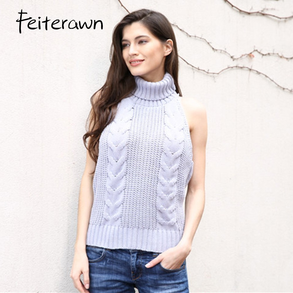 Feiterawn 2017 Women Casual High Collar Sexy Backless Sleeveless ...