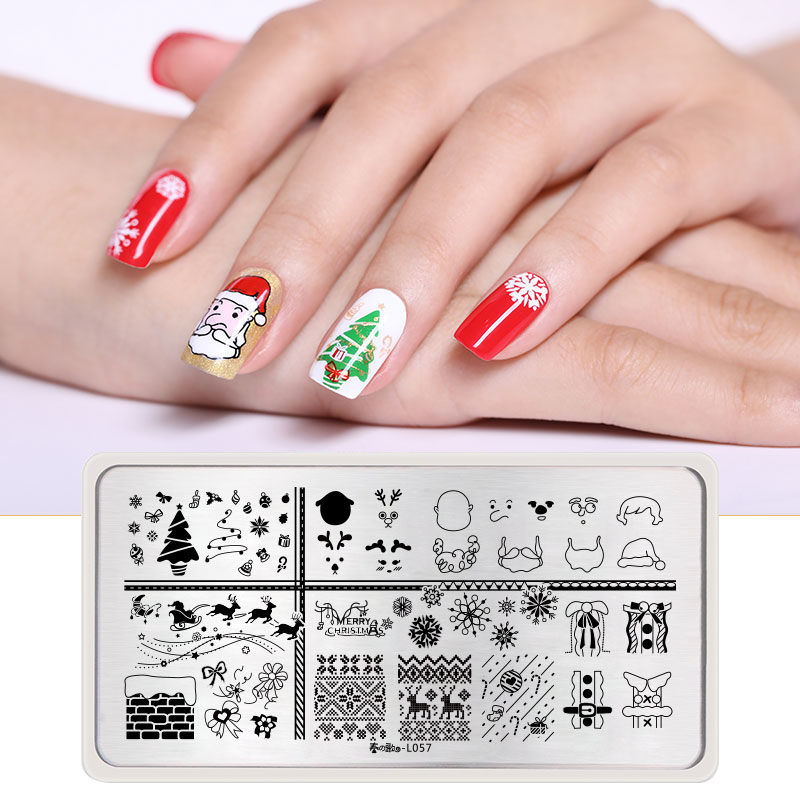 Santa Claus Nail Art: 1Pc Christmas Designs Templates Stainless Steel Rectangle
